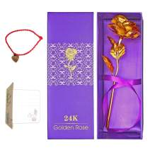 OrchidBest 24K Gold Foil Rose, Full Blossom Flower with Gift-Box for Loved One, Ideal Gift for Valentine, Mothers' Day, Birthday, Anniversary, Wedding, Fadeless Rose for Love Last Forever (Golden)
