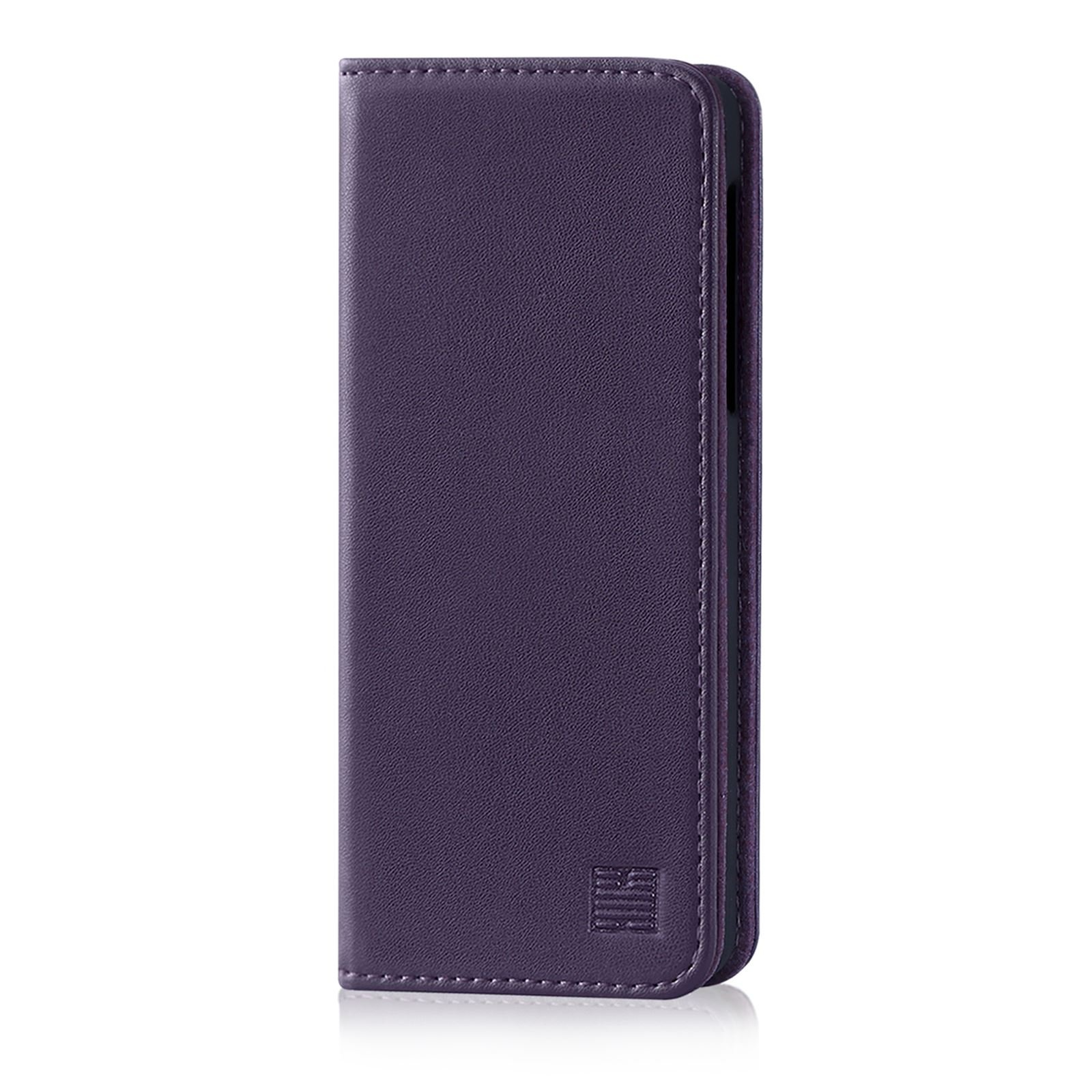 32nd Classic Series - Real Leather Book Wallet Case Cover for OnePlus 6, Real Leather Design with Card Slot, Magnetic Closure and Built in Stand - Aubergine