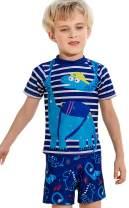 Coralup Kids Boys Swimsuit Two Piece Rash Guard UPF50+UV Swimwear Shorts Set 1-10Years