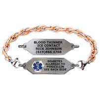 Divoti Custom Engraved Medical Alert Bracelets for Women, Stainless Steel Medical Bracelet, Medical ID Bracelet w/Free Engraving – Small Classic Tag w/Inter-Mesh Rose Gold/Silver Chain – Color/Size