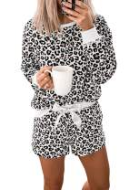 Lovezesent Womens Leopard Sleepwear Long Sleeve Shorts Pajamas Set Lounguewear