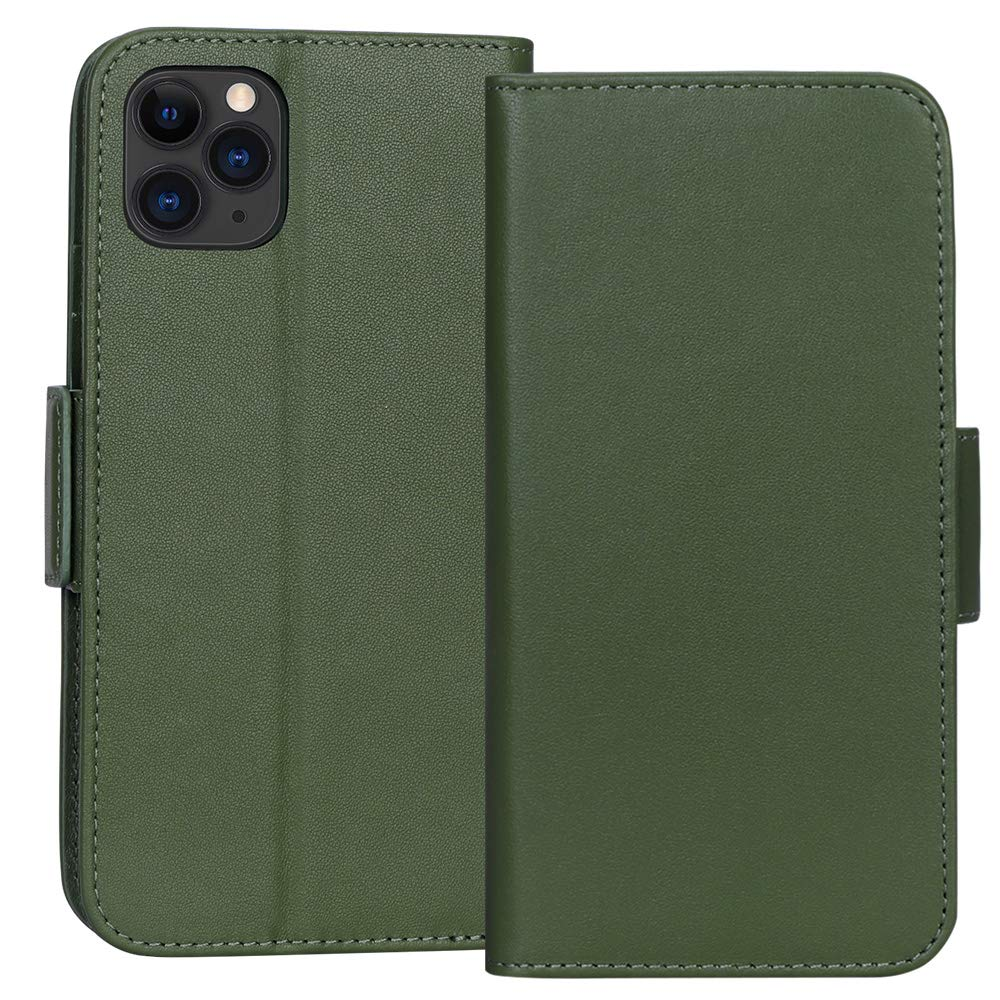 "FYY Case for iPhone 11 Pro Max 6.5"", Luxury [Cowhide Genuine Leather][RFID Blocking] Wallet Case, Handmade Flip Folio Case with [Kickstand Function] and[Card Slots] for iPhone 11 Pro Max 6.5"" Green"