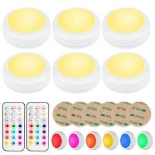 BLS LED Puck Lights with Remote Control, Wireless Under Cabinet Lighting, Battery Powered Lights, Stick on Lights, Color Changing Lights with Dimmer and Timer, AA Battery Operated Closet Light, 6 Pack