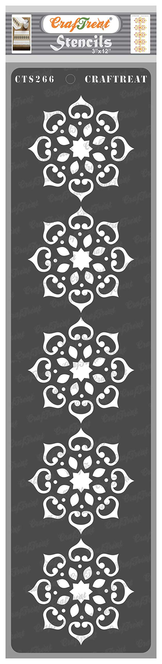 CrafTreat Border Stencils for Painting on Wood, Canvas, Paper, Fabric, Floor, Wall and Tile - Border10-3x12 Inches - Reusable DIY Art and Craft Stencil Borders for Painting - Rangoli Border Stencil