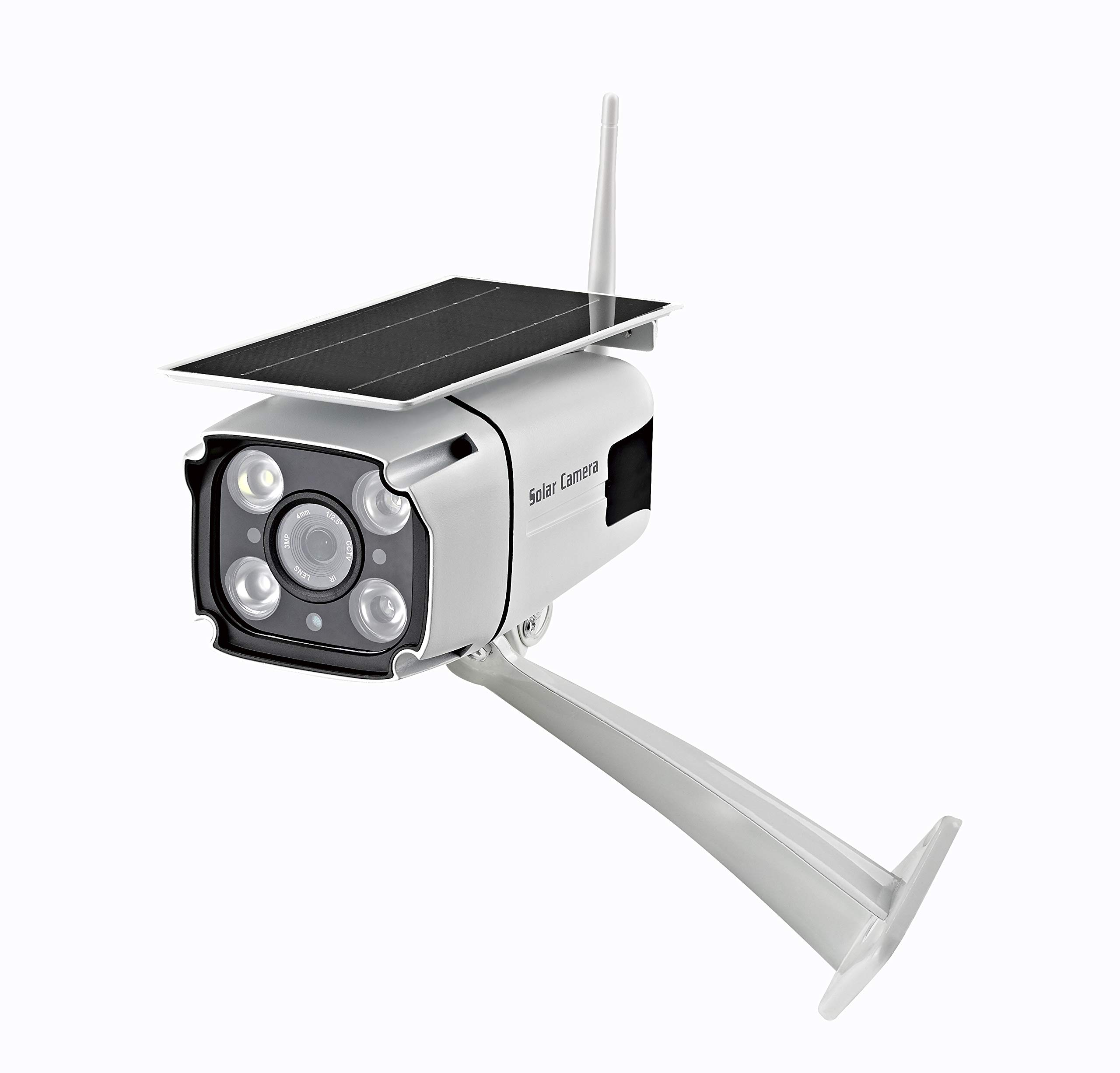Solar Powered Wireless Security Camera- WiFi IP Solar CCTV Camera Built in Rechargeable Battery, SD Card Storage, IP67 Waterproof, Remote APP, PIR Sensor,for Outdoor Smart Home Security Camera