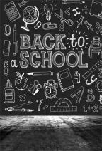 AOFOTO 6x8ft Back to School Backdrop Chalk Drawing Chalkboard Blackboard Painting Photography Background Classroom Study Teacher Classmate Education Student Girl Boy Kid Photo Studio Props Wallpaper