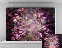Kate 7x5ft Microfiber Spring Backdrops for Photoshoot Abstract Painting Pink Flowers Photo Background Princess Theme Backgrounds Easter Backdrop Props