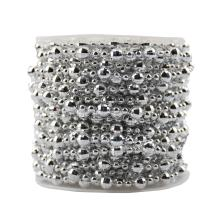 BoJia Pearl Bead Roll Faux Pearls Beads String by The Roll Faux Crystal Beads Garland 50ft ABS Cuttable for Christmas, Valentine, Exhibition, Wedding, Clothing, Costume, DIY Decoration (Silver)