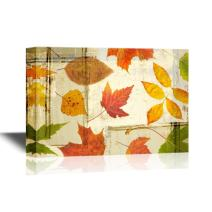 wall26 Canvas Wall Art - Golden Leaves in Autumn on Vintage Background - Gallery Wrap Modern Home Decor | Ready to Hang - 24x36 inches
