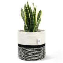 "POTEY 700401 Cotton Rope Woven Plant Basket Modern Woven Basket for 10"" Flower Pot Floor Indoor Planters,Storage Organizer Basket Rustic Home Decor,White Black Stripes 11""x 11"""