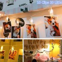 Photo Clip String Lights,Juhefa Battery Powered 20 LEDs Fairy String Lights with 10 Clear Clips for Christmas/Hanging Pictures/Party/Halloween Decor (Warm White)