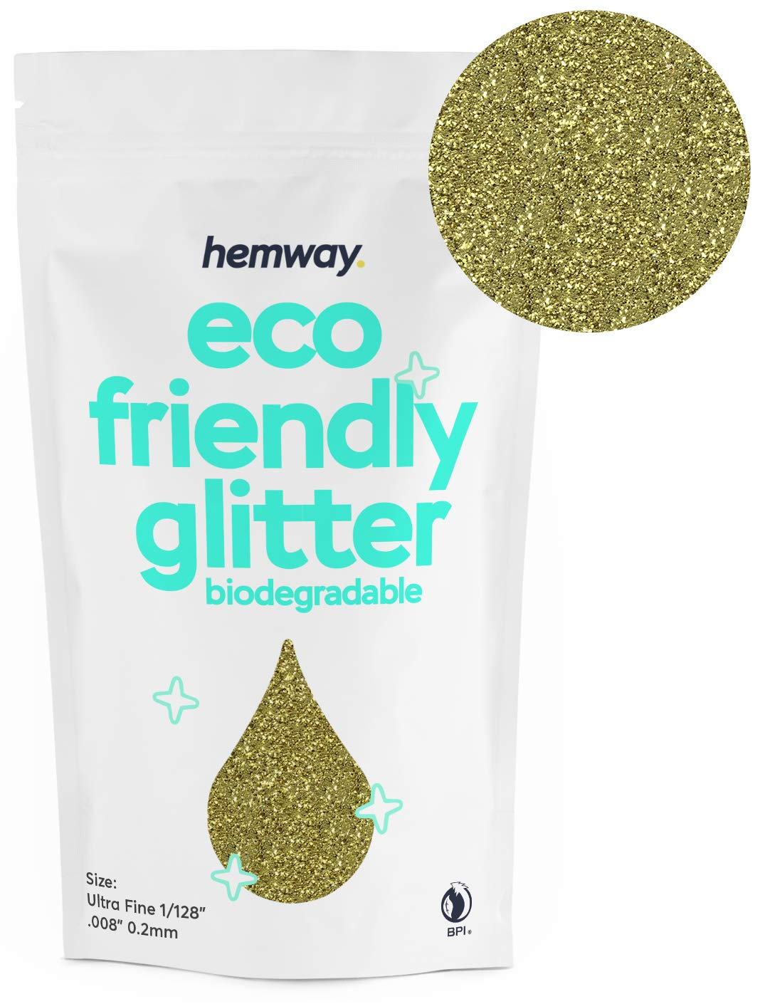 """Hemway Eco Friendly Biodegradable Glitter 100g / 3.5oz Bio Cosmetic Safe Sparkle Vegan For Face, Eyeshadow, Body, Hair, Nail And Festival Makeup, Craft - 1/128"""" 0.008"""" 0.2mm - Sand Gold"""