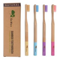 GoWoo 100% Natural Bamboo Toothbrush Soft - Organic Eco Friendly Toothbrushes With Soft Nylon Bristles, BPA-Free, Biodegradable, Dental Care Set for Men and Women, (PACK OF 4, ADULT, Rainbow)