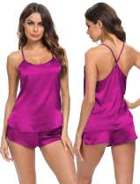SWOMOG Women's Satin Pajama Cami Set Sexy Lingerie Silky Sleepwear Nightwear 2 Piece Pj Short Sets