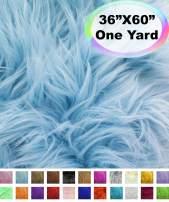 "Barcelonetta   One Yard Faux Fur   36"" X 60"" Inch   Craft Supply, Costume, Decoration (Baby Blue)"