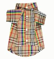 HOODDEAL Dog Shirts, Rainbow Stripe Plaid Cotton Pet Clothes, Stylish Cozy Khaki Dog Outfits, Adorable Christmas Thanksgiving Costumes for Small Medium Puppy