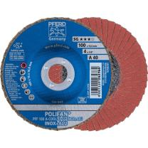 "PFERD Polifan SG CO-COOL Abrasive Flap Disc, Type 27, Round Hole, Phenolic Resin Backing, Aluminum Oxide, 4-1/2"" Dia., 80 Grit (Pack of 1)"