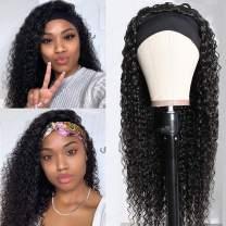 ALLRUN Human Hair Headband Wig Kinky Curly Human Hair Headband Wigs for Black Women (16 inch) 150% Density Brazilian Virgin Hair Machine Made Headband Wig None Lace Front Headband Hair Wigs