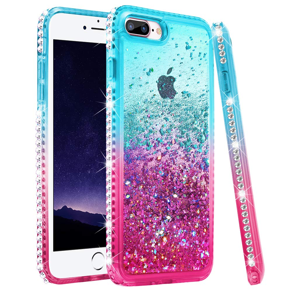 Ruky iPhone 7 Plus Case, iPhone 8 Plus Glitter Case, Colorful Quicksand Series Soft TPU Bling Diamond Flowing Liquid Floating Girls Women Case for iPhone 6 Plus 6s Plus 7 Plus 8 Plus (Teal Pink)