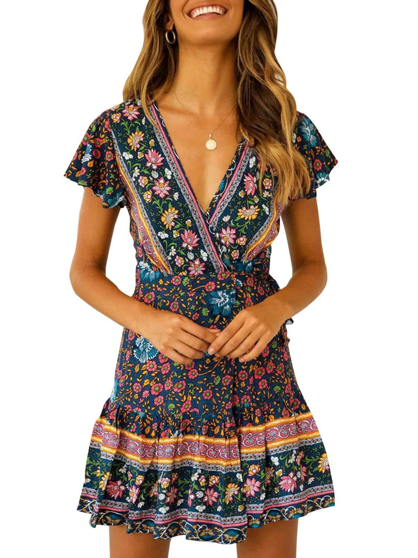 Simplee Women's V Neck Short Sleeve Maxi Dress Boho Floral Split Wrap Long Dress