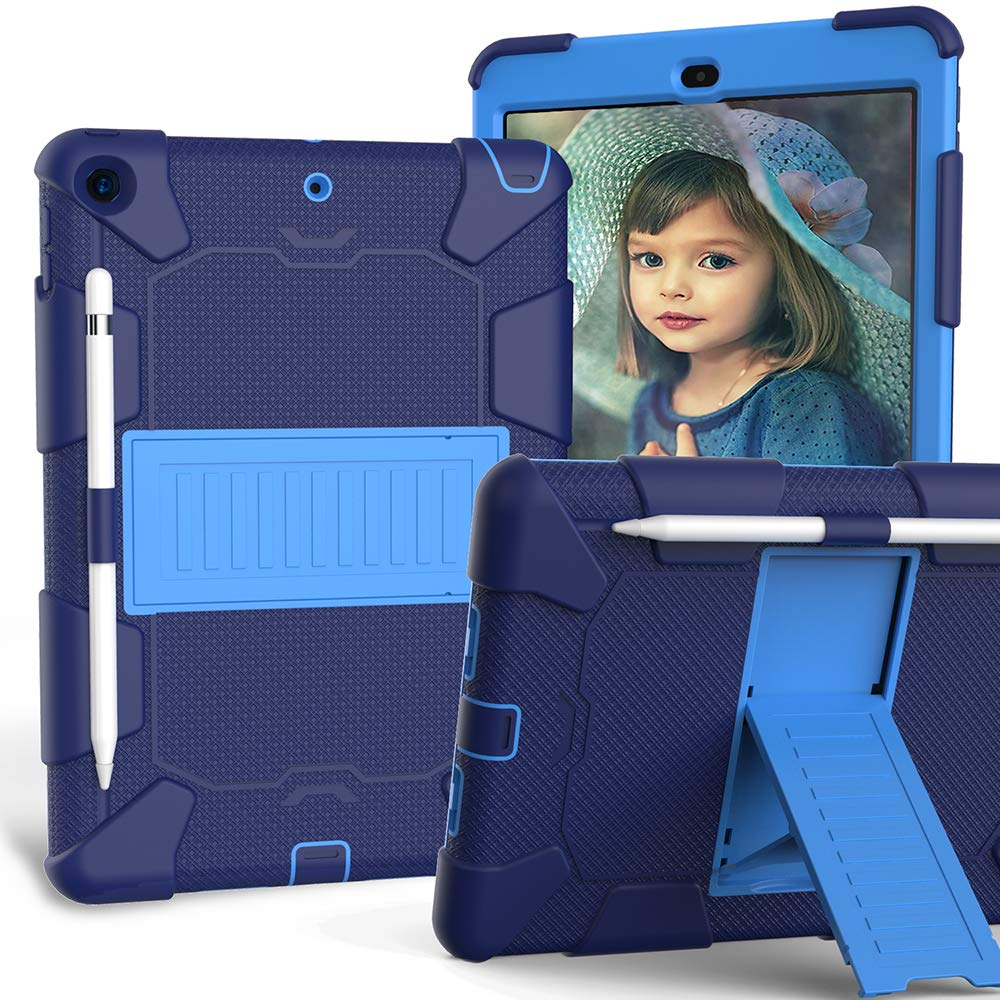 iPad 10.2 Case 2019, CASZONE 3 Layer Heavy Duty Rugged Shockproof Anti-Slip Silicone Protective Cover for New iPad 7th Generation 10.2 inch with Pencil Holder/Kickstand, for Kids/Students- Navy+Blue