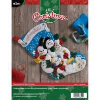"Bucilla Felt Applique Christmas Stocking, 18"", Snowman Family Band"