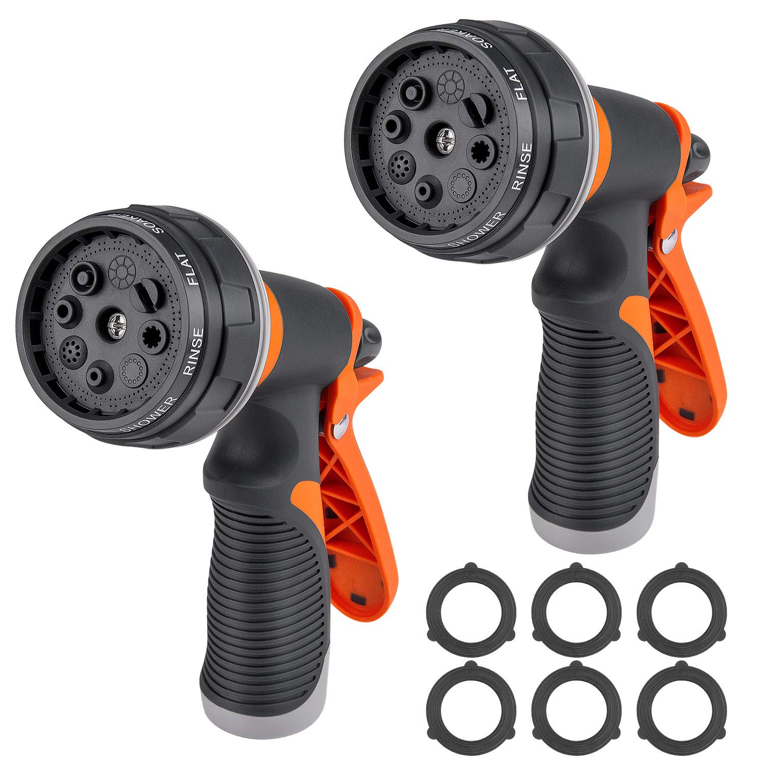 Awpeye 2 Packs Water Hose Nozzle, Garden Hose Sprayer for Watering Plants, Cleaning House, Washing a Car and with High-Pressure Heavy Duty 8 Pattern