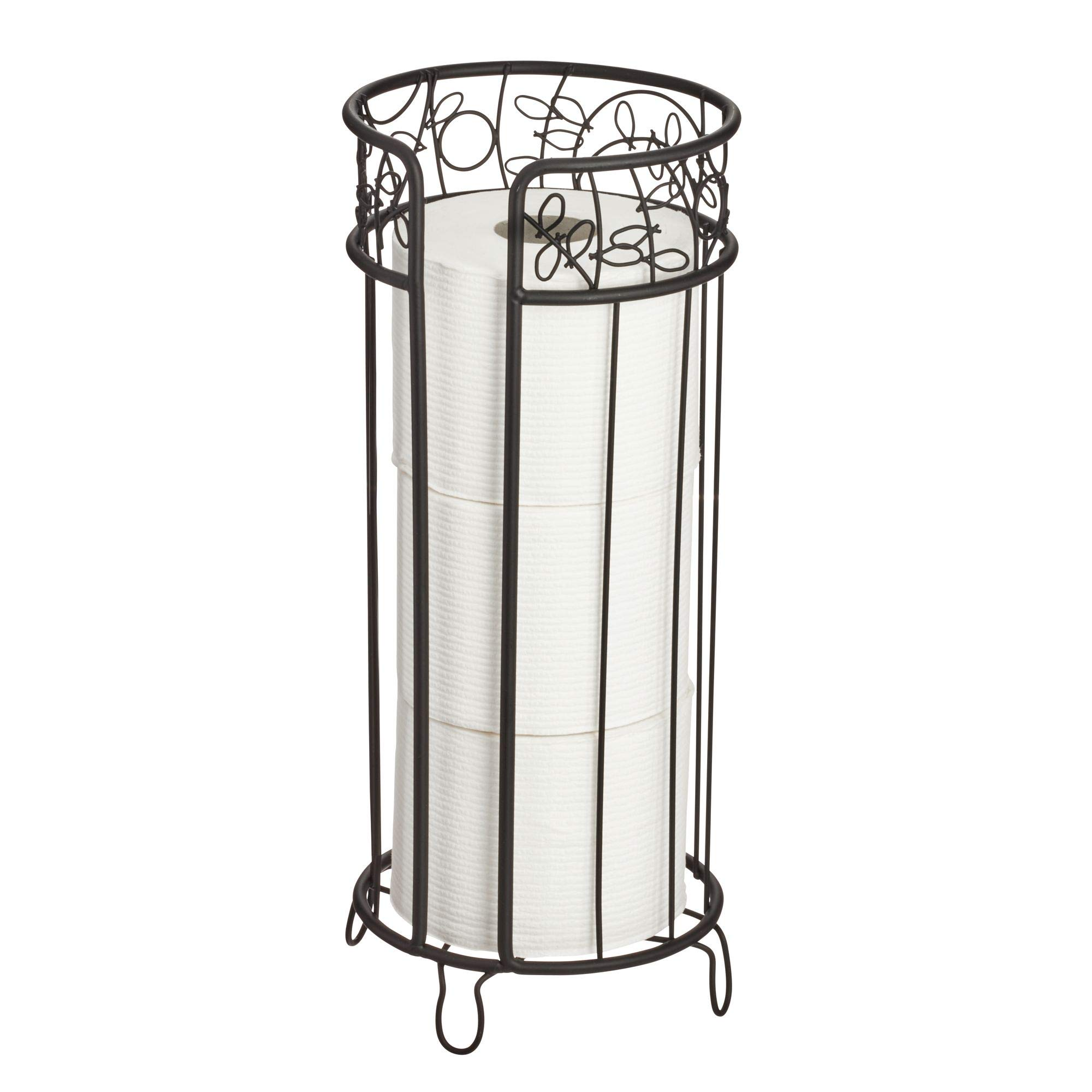"""iDesign Twigz Metal Free Standing Toilet Paper Roll Holder, Canister Reserve for Master, Guest, Kid's, Office Bathroom Storage, 6.8"""" x 6.8"""" x 15.2"""" - Matte Black"""