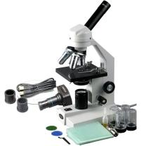 AmScope M500C-MS-M Digital Monocular Compound Microscope, WF10x and WF25x Eyepieces, 40x-2500x Magnification, Anti-Mold Optics, Tungsten Illumination, Brightfield, Abbe Condenser, Coarse and Fine Focus, Plain Stage with Mechanical Slide Holder, 110V, Includes 1.3MP Camera with Reduction Lens and Software