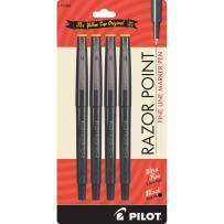 PILOT Razor Point Fine Line Marker Stick Pens, Ultra-Fine Point (0.3mm) Black Ink, 4-Pack (11044)