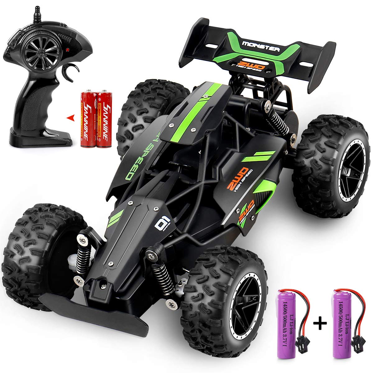Outerman RC Car 1:18 Scale 2.4Ghz Remote Control Trucks, 15-20 km/h High Speed Racing Car with 2 Rechargeable Lithium Ion Batteries, Electric Toy Car for All Adults & Kids (Black+Green)