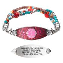 Divoti Custom Engraved Medical Alert Bracelets for Women, Stainless Steel Medical Bracelet, Medical ID Bracelet w/Free Engraving – Blooming Cherry Blossom Tag w/Tri-Strand Crystal Red– Color/Size