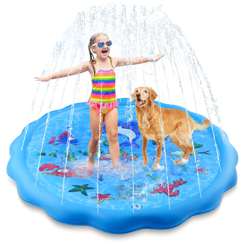 "Setibre 68"" Sprinkle & Splash Play Mat, Outdoor Water Play Toys, Sprinkler Toy Splash Play Pad with Wading Pool for Kids Toddlers"