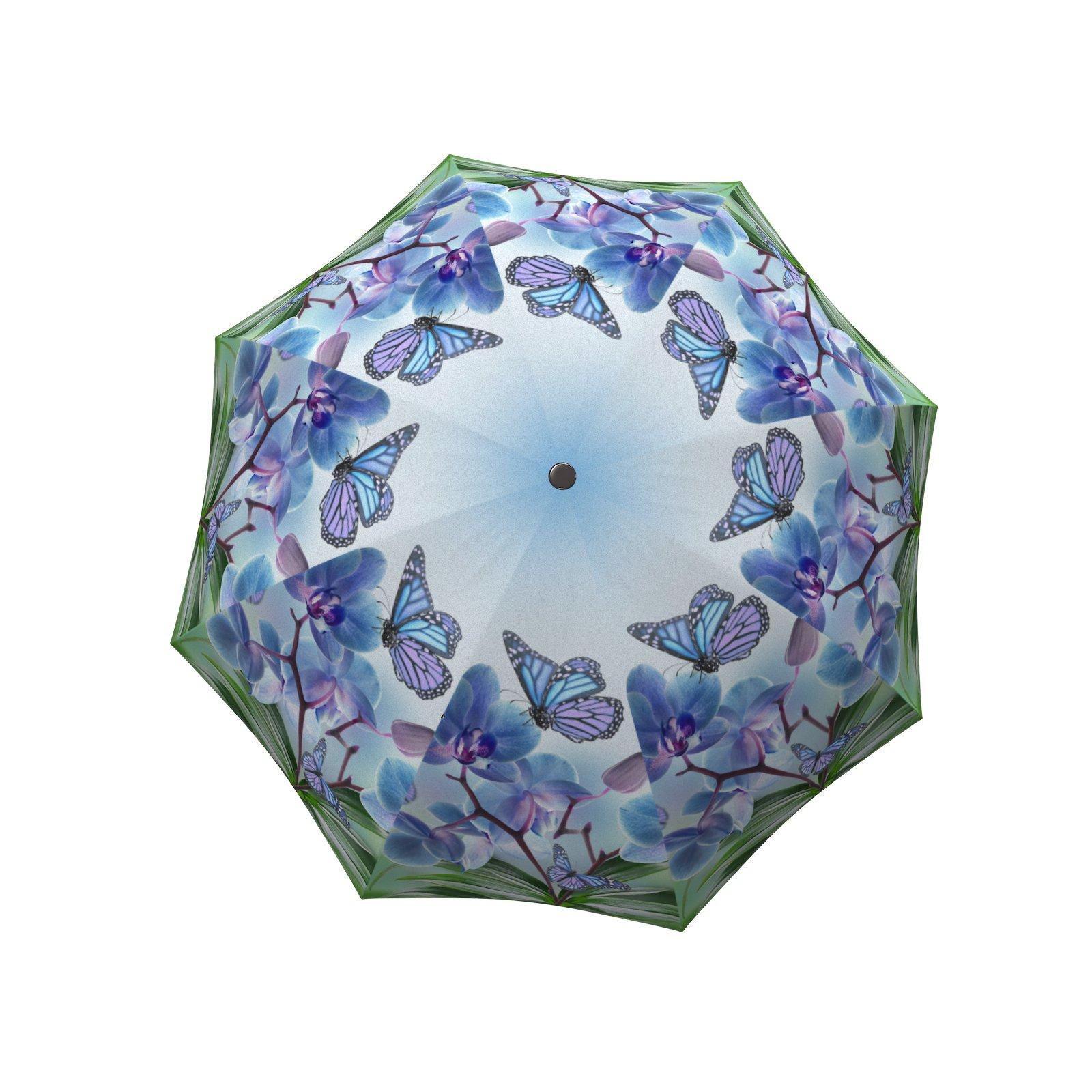 Fashion Umbrella Stylish Gift - Compact Automatic Rain Umbrella Butterfly Design Blue - Designer Umbrella Windproof Auto Open Close - Art Umbrella for Women - Vintage Umbrella Colourful Lightweight