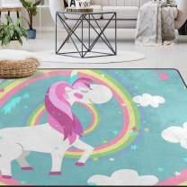 Naanle Rainbow Unicorn Area Rug 4'x6', Cute Unicorn Polyester Area Rug Mat for Living Dining Dorm Room Bedroom Home Decorative