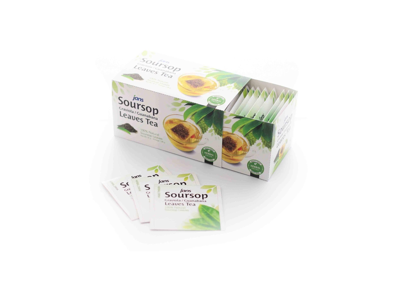 Jans 100% Organic, All Natural Soursop Graviola/Guanabana Leaves Tea Box (25 tea bags)