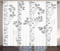 """Ambesonne Birch Tree Curtains, White Branches with Leaves Autumn Nature Forest Inspired Image Print, Living Room Bedroom Window Drapes 2 Panel Set, 108"""" X 96"""", White Grey"""