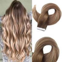 Easyouth Tape In Remy Human Hair Extensions 22 Inch 50g 20Pcs Per Package Balayage Colour 4 Middle Brown Fading To 6 Highlight With 18 Ash Blonde