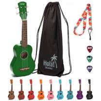 Hola! Music HM-21GN Soprano Ukulele Bundle with Canvas Tote Bag, Strap and Picks, Color Series, Green