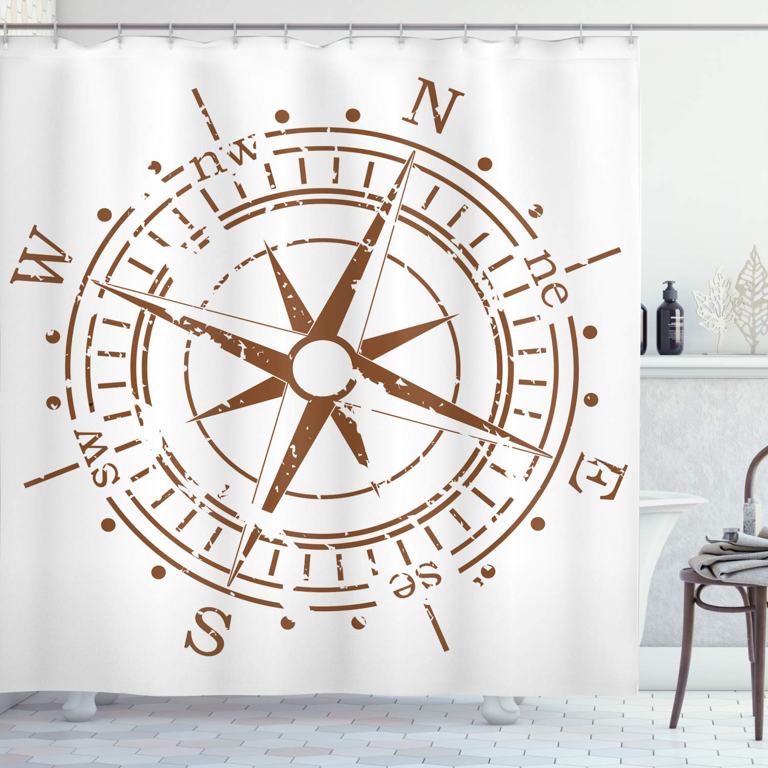 """Ambesonne Compass Shower Curtain, Navigation Device of The Age of Discovery Windrose Faded Design Boating Control, Cloth Fabric Bathroom Decor Set with Hooks, 70"""" Long, Pale Brown"""