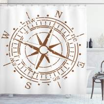 """Ambesonne Compass Shower Curtain, Navigation Device of The Age of Discovery Windrose Faded Design Boating Control, Cloth Fabric Bathroom Decor Set with Hooks, 84"""" Long Extra, Pale Brown"""