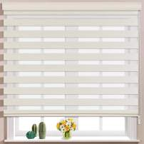 Keego Window Blinds Custom Cut to Size, Hemp Zebra Blinds with Dual Layer Roller Shades, [Size W 46 x H 56] Dual Layer Sheer or Privacy Light Control for Day and Night