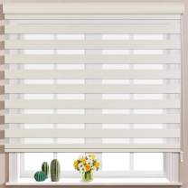 Keego Window Blinds Custom Cut to Size, Hemp Zebra Blinds with Dual Layer Roller Shades, [Size W 34 x H 56] Dual Layer Sheer or Privacy Light Control for Day and Night