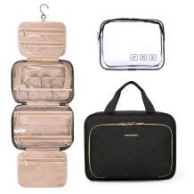 BAGSMART Toiletry Bag Hanging Travel Organizer with TSA Approved Transparent Cosmetic Bag and Detachable Makeup Pouch For Full Sized Toiletries, Medium-Black