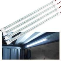 12V Interior LED Light Bar, 48 LEDs Light Strip with Switch, 6500K LED Lighting for Car Trailer Truck Bed Van RV Cargo Boat Cabinet Slim Enclosed Trailer Lights Fixture (4 Pack)