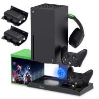 Vertical Stand with Cooling Fan for Xbox Series X, YUANHOT Charging Station Dock with 1400mAh Rechargeable Battery Pack, Dual Controller Charger Ports, Cooler System (NOT for Xbox One S/X Controller)