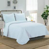 "LINT HINT 100% Cotton Percale Prewashed 3PC Oversized Quilt Set/Coverlet Set/Bedspread Set, 92""x96""/20x26""(2) Full/Queen 110""x96""/20x36""(2) King"
