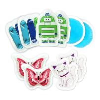 Kids Ice Pack(10-Pack) for Boo Boos Injuries by WORLD-BIO, Reusable Children's Fun Cartoon Pack Pain Relieve for Teething, Headaches, Small Round Cold Gel Pack Comfort for Breastfeeding, Post Surgery