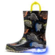 HugRain Toddler Boys Lightweight Adorable Rain Boots (Size 5,Black)