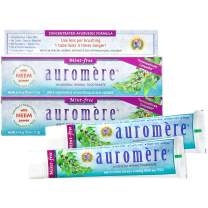 Auromere Ayurvedic Herbal Toothpaste, Mint Free - Vegan, Natural, Non GMO, Flouride Free, Gluten Free, with Neem & Peelu (4.16 oz), 2 Pack